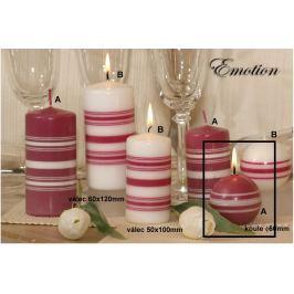 Lima Fresh Line Emotion vonná svíčka růžová - bílé pruhy koule průměr 60 mm 1 kus