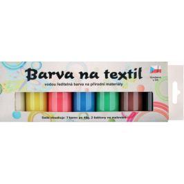 Sada barev na světlý textil perleť 7 x 15 g + šablony