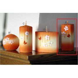 Lima Rozkvetlá louka svíčka oranžová hranol 45 x 120 mm 1 kus