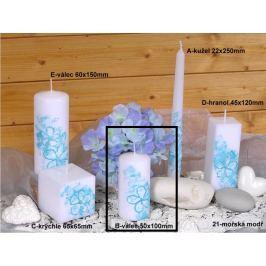 Lima Květinová svíčka modrá válec 50 x 100 mm 1 kus
