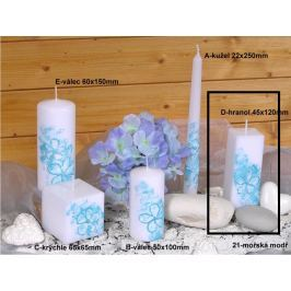 Lima Květinová svíčka modrá hranol 45 x 120 mm 1 kus