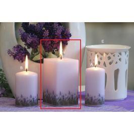 Lima Lavender vonná svíčka světle fialová hranol 65 x 120 mm 1 kus