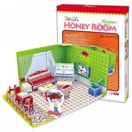 CubicFun Puzzle 3D Honey Room Pokojíček Obývák 49 dílků pro děti 22 x 11,5 x 17,5 cm Puzzle