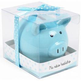 Albi Pokladnička prasátko malé Na něco hezkého modrá 7 cm × 6,5 cm × 7,3 cm