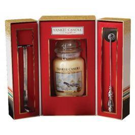 Yankee Candle Vanilla - Vanilka vonná svíčka Classic velká sklo 623 g + nůžky + zhášedlo, Vánoční dárková sada