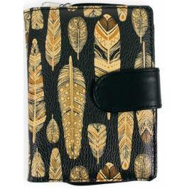 Albi Original Designová peněženka Černá se zlatými peříčky 9 x 13 cm