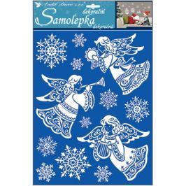 Room Decor Samolepky andělé se sněhovým efektem 35 x 27,5 cm