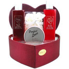 Raphael Rosalee Cosmetics Srdce Perfect Love sprchový gel 260 ml + tělové mléko 260 ml + peeling 150 ml + mýdlo 6 x 4 g + krabička, kosmetická sada