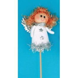 Anděl figurka bílá zápich 8 cm + špejle