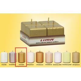 Lima Svíčka hladká metal zlatá krychle 45 x 45 mm 4 kusy