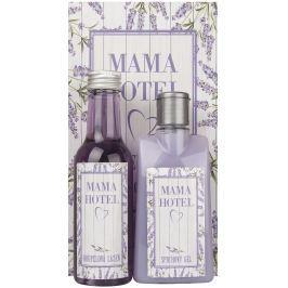 Bohemia Gifts & Cosmetics Lavendule s extraktem z bylin Sprchový gel 200 ml + Koupelová lázeň 200 ml + Obrázek Mama Hotel 13 x 24 cm, kosmetická sada
