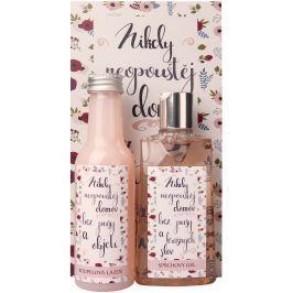 Bohemia Gifts & Cosmetics Růže a šípek Sprchový gel 200 ml + Koupelová lázeň 200 ml + Obrázek Nikdy neopouštěj domov bez pusy... 13 x 24 cm, kosmetická sada