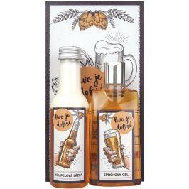 Bohemia Gifts & Cosmetics Extrakt z pivních kvasnic a chmele, To je dobré, sprchový gel 200 ml + Koupelová lázeň 200 ml + Obrázek Pivo je dobré ...13 x 24 cm kosmetická sada