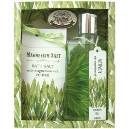Bohemia Gifts & Cosmetics Vetiver, Magneziovaná sůl a Santalové dřevo Sprchový gel 200 ml + koupelová sůl 150 g, kosmetická sada