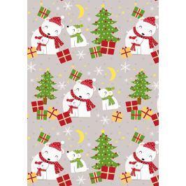 Ditipo Vánoční balicí papír dětský šedý Lední medvědi 100 x 70 cm 2013912 2 kusy