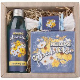 Bohemia Gifts & Cosmetics Pro babičku sprchový gel 200 ml + ručně vyráběné mýdlo 30 g + dekorační kachlík 10 x 10 cm, kosmetická sada