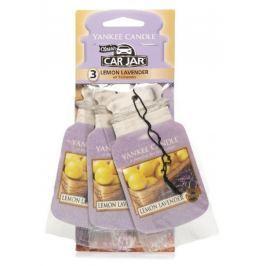 Yankee Candle Lemon Lavender - Citrón a levandule vonná visačka do auta papírová sada 3 kusy x 12 g