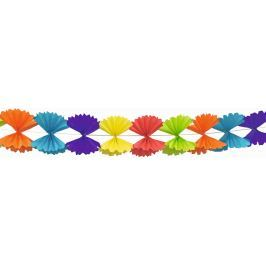 Girlanda Skládaná mašle barevná papírová 300 x 23,5