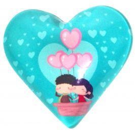 Nekupto Magnet Srdce tyrkysové, růžové balonky 4 cm
