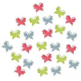 Motýli dřevění zelená, červená, modrá 2 cm 24 kusů