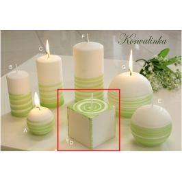 Lima Aromatická spirála Konvalinka svíčka bílo - zelená krychle 65 x 65 mm 1 kus