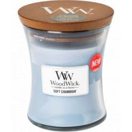 WoodWick Soft Chambray - Čisté prádlo vonná svíčka s dřevěným knotem a víčkem sklo velká 609,5 g