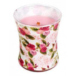 WoodWick Illustrated Rose - Růže, gardénie, petrklíč, vonná svíčka s dřevěným knotem a víčkem sklo střední 275 g