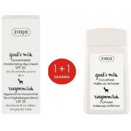 Ziaja Kozí mléko SPF 20 koncentrovaný denní krém 50 ml + kozí mléko dvoufázový odličovač očí a rtů 120 ml, duopack