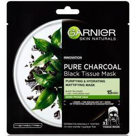 Garnier Skin Naturals Pure Charcoal Black Tissue Mask s extraktem pleťová černá textilní maska z černého čaje 28 g