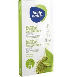 Body Natur Matcha čaj epilační voskové pásky na tělo pro normální a suchou pokožku 16 kusů + poepilační ubrousky 2 kusy