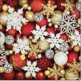 Aha Vánoční papírové ubrousky 3 vrstvé 33 x 33 cm 20 kusů Vločky, zlaté a červené ozdoby