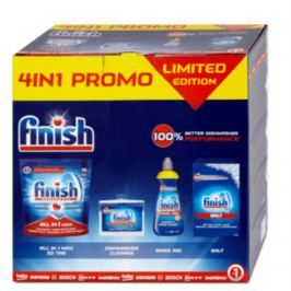 Finish 4in1 All in 1 Max tablety 815 g + Shine & Protect Lemon Sparkle leštidlo 400 ml + čistič myčky 250 ml + sůl do myčky 1,5 kg, balíček čisticích prostředků