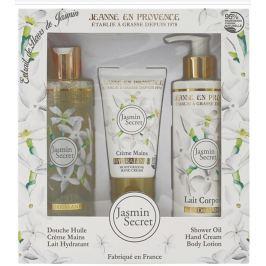 Jeanne en Provence Jasmin Secret - Tajemství Jasmínu krém na ruce 75 ml + tělové mléko 250 ml + sprchový olej 250 ml kosmetická sada