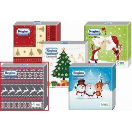 Regina Vánoční papírové ubrousky Šedé, růžový a bílý potisk 1 vrstvé 33 x 33 cm 20 kusů