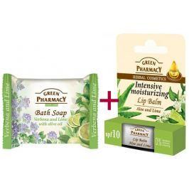 Green Pharmacy Aloe Vera a Limetka balzám na rty 2 x 3,6 g + Verbena a Limetka s olivovým olejem toaletní mýdlo 100 g, triopack