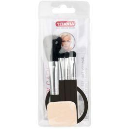 Titania Cestovní kosmetická sada štětec na pudr + štětec na rtěnku + štětec na oční stíny + aplikátor na oční stíny + zrcátko, kosmetická sada