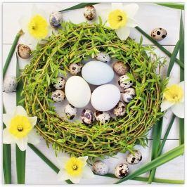 Aha Velikonoční papírové ubrousky 3 vrstvé 33 x 33 cm 20 kusů zelený věneček, narcisy, tulipány 33 x 33 cm 3 vrstvé 20 kusů