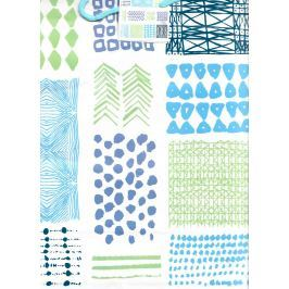 Nekupto Dárková papírová taška velká 32,5 x 26 x 13 cm Modré, zelené vzory 1719 40 KFL