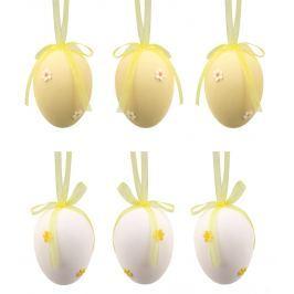 Vajíčka plastová na zavěšení 5 cm, s kytičkou, 6 kusů v sáčku