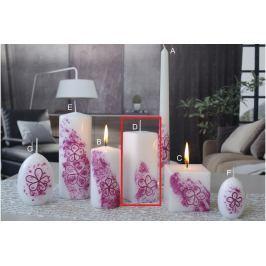 Lima Květinová svíčka tmavě růžová hranol 45 x 120 mm 1 kus