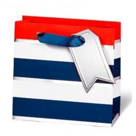 BSB Luxusní dárková papírová taška 14,5 x 15 x 6 cm Modro-bílé proužky LDT 392 - CD