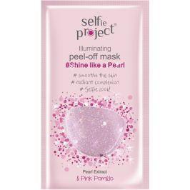 Selfie Project Rozjasňující slupovací pleťová peel-off maska, zářivá jako perla 12 ml