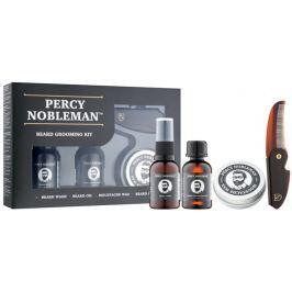 Percy Nobleman Péče o vousy a knír šampon na vousy 30 ml + vyživující olejový kondicionér na vousy s vůní 30 ml + vosk na vousy 20 ml + hřeben na vousy a knír, kosmetická sada