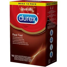 Durex Real Feel kondom kondom pro přirozený pocit kůže na kůži nominální šířka: 56 mm nelatexové i pro alergiky 16 kusů
