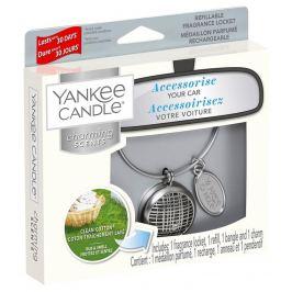 Yankee Candle Clean Cotton - Čistá bavlna základní vůně do auta kovová stříbrná visačka Charming Scents set Linear 13 x 15 cm, 90 g