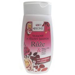 Bione Cosmetics Růže 2v1 vlasový a tělový šampon bez parabenů a silikonů 260 ml