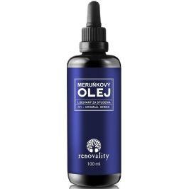 Renovality Meruňkový olej ze studena lisovaný na spálenou kůži i od sluníčka, ekzémy, zábaly na vlasy, vhodný i pro děti 100 ml s pipetkou
