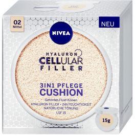 Nivea Hyaluron Cellular Filler 3v1 pečující tónovací krém make-up v houbičce 02 Střední odstín 15 g
