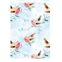 Ditipo Balicí papír světle modrý ptáček a vločky 100 x 70 cm 2 kusy