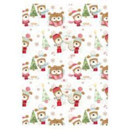 Ditipo Vánoční balicí papír pro děti bílý stromeček a pes v čepici 100 x 70 cm 2 kusy